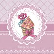 Stock Vector: Vintage card with cupcake