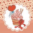 Vintage card with cupcake — Stockvectorbeeld