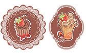 Retro cupcakes labels — Stok Vektör