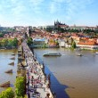 View of the Lesser Bridge Tower of Charles Bridge, Prague, Czech Republic — Stock Photo #37970597