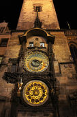 Astronomical Clock at night in old town Prague, Czech Republic — Stock Photo