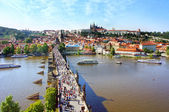 View of the Lesser Bridge Tower of Charles Bridge, Prague, Czech Republic — Stock Photo