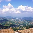Tiled roofs and panorama of San Marino, Italy — Stock Photo