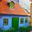 Dwarf old houses on the ancient famous street Zlata ulicka in Prague — Stock Photo