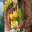 Stock Photo: Easter wreath. Spring decoration