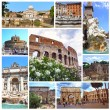 Collage of landmarks of Rome, Italy — Stock Photo