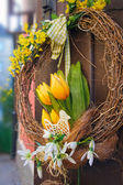 Easter wreath. Spring decoration — Stock Photo