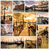 Collage Venice lagoon and canals with gondolas at night. Venice, — Stock Photo