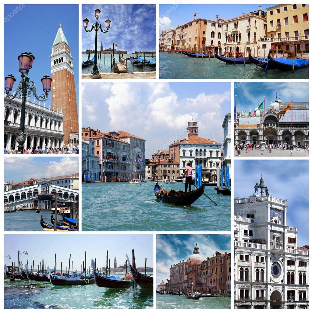 collage der sehensw rdigkeiten in venedig italien stockfoto marina99 38544405. Black Bedroom Furniture Sets. Home Design Ideas