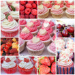 Cupcakes with berries. Collage of sweet desserts — Stock Photo #38628203