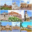 Stock Photo: Collage of landmarks of Rome. Arch of Constantine, Colosseum, PiazzNavona, Vatican, Saint Peter cathedral, Castle and bridge Saint Angel, Fountain di Trevi