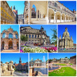 Collage of landmarks of Dresden, Germany. Zwinger Palace, Semper Opera house, Fuerstenzug, Castle Stallhof, Frauenkirche (Church of Our Lady) in Dresden, Saxony, Germany — Stock Photo #38664221