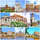 Collage of landmarks of Rome. Arch of Constantine, Colosseum, Piazza Navona, Vatican, Saint Peter cathedral, Castle and bridge Saint Angel, Fountain di Trevi — Stock Photo