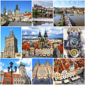 Collage of landmarks of Prague. Charles bridge, Cathedral of Saint Vitus, Orloj Astronomical Clock, Church of our Lady Tyn in old town of Prague, Czech Republic — Stockfoto