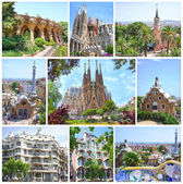 BARCELONA, SPAIN - MAY 28: Fantasy Architecture Designed by famous Antoni Gaudi: Parc Guell, Casa Mila, Casa Battlo and La Sagrada Familia on May 28,2012 Barcelona, Spain — Stock Photo
