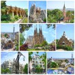 Fantasy Architecture Designed by famous Antoni Gaudi: Parc Guell, Casa Mila, Casa Battlo and La Sagrada Familia on May 28,2012 Barcelona, Spain — Stock Photo