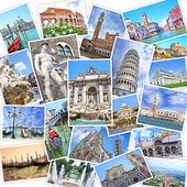 Stack of travel images from Italy (my photos). Famous landmarks of Italian cities - Venice, Rome, Florence, Siena, Pisa, Tivoli — Stock Photo