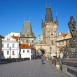 Lesser Town tower in Charles bridge, Prague, Czech Republic — Stock Photo