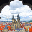 Church of our Lady - Tyn Church in old town of Prague, Czech Republic. View from the tower of the astronomical clock — Stock Photo #39100673