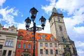 Lantern at Astronomical Clock tower at morning in old town Prague — Stock Photo