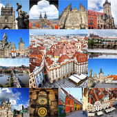 Collage of landmarks of Prague. Charles bridge, Cathedral of Sai — Stock Photo