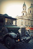 Retro car on the streets of Prague. Classic Vintage Vehicles — Stock Photo