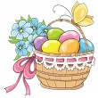 Easter basket with eggs and bouquet of flowers. Vector hand drawing — Stock Vector #39643063