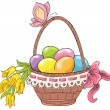Easter basket with eggs and bouquet of flowers. Vector hand drawing — Stock Vector #39643067