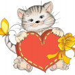 Kitty with heart — Vector de stock #39643087