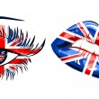 Flags of the Great Britain in beautiful female eye and lips — Stock Vector
