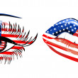 Flags of the USA in sensuality lips and beautiful female eye — Stock Vector