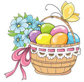 Easter basket with eggs and bouquet of flowers. Vector hand drawing — Stock Vector