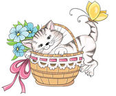 Kitty and bouquet of flowers in basket. Vector hand drawing — Stock Vector
