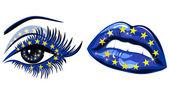 European Union Flag in beautiful female eye and lips — Stock Vector