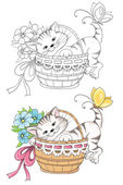 Cartoon kitty in basket for coloring book — Stock Vector