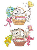 Kitty and bouquet of flowers in basket — Stock Vector
