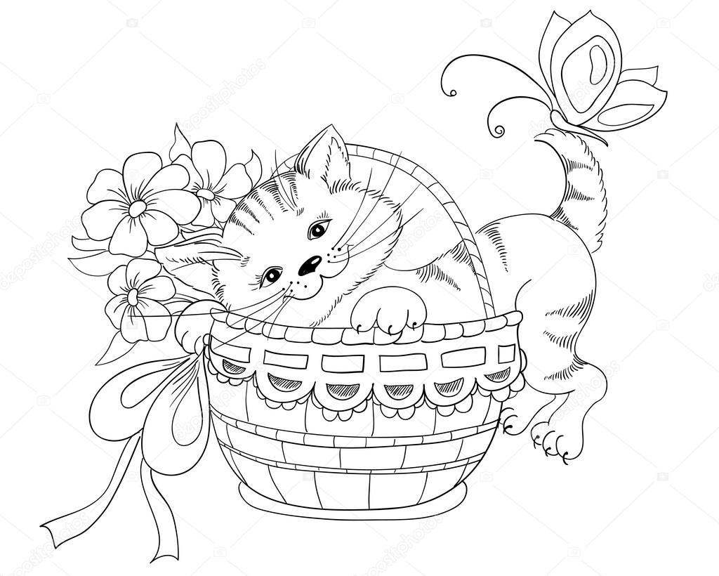 Vector hand drawing kitty and bouquet of flowers in basket for Bouquet de fleurs un