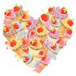 Vector cupcakes in shape of heart. Symbol valentine and love — Stock Vector