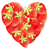 Vector strawberries in shape of heart. Symbol valentine and love — Stock Vector