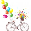 Romantic Birthday card. Bicycle with balloons and basket full of flowers and butterflies — Stock Vector