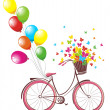 Romantic Birthday card. Bicycle with balloons and basket full of flowers and butterflies — Stock Vector #39760425