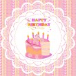 Beautiful Vintage card on Birthday with cake — Stock Vector
