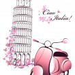 Retro postcard travel to Italy. Vintage scooter on the background of the Pisa tower — Stock Vector