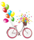 Romantic Birthday card. Bicycle with balloons and basket full of flowers and butterflies — Stockvector