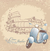 Retro postcard travel to Italy. Vintage scooter on the background of the Coliseum in Rome — Stock Vector