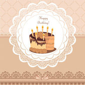 Beautiful Vintage card on Birthday with chocolate cake — Stock Vector