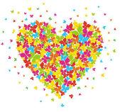 Floral Love Shape. Heart of butterflies. Vector illustration. — Stock Vector