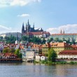 Stock fotografie: View on Prague gothic Castle above River Vltava, Czech Republic