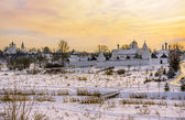 Panorama of the historic town of Russia - Suzdal. Church and monastery in Suzdal in winter — Stock Photo