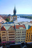 View of the Vltava River and Prague house from the Lesser tower on the Charles Bridge — Stock Photo